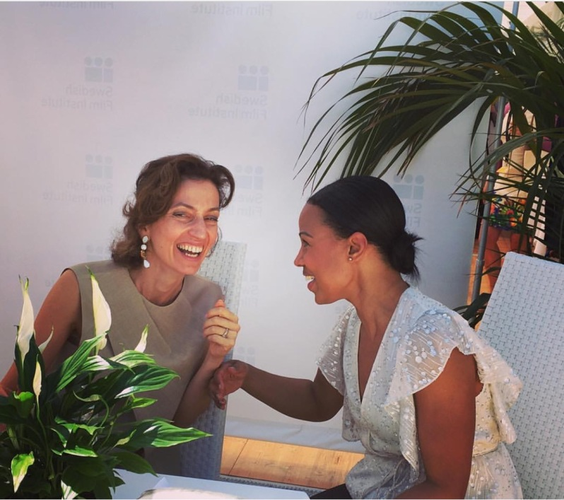 French Minister for Culture Audrey Azoulay and Swedish Minister for Culture Alice Bah Kunke at the launch of #5050by2020, by the Swedish Film Institute in Cannes 2016.