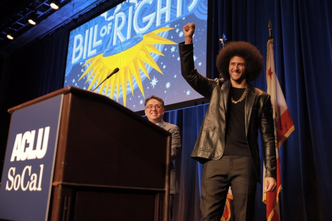 Colin Kaepernick honored with the Eason Monroe Courageous Advocate Award, at the ACLU of SoCal's Bill of Rights Dinner, 2017.