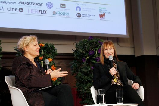 Anna Serner, CEO of the Swedish Film Institute, and Gale Anne Hurd, producer (Terminator, Aliens, Fear of the Walking Dead), launching 10% for 50/50 for Women in Film International at the 2019 Berlinale.