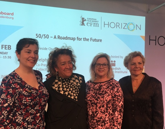 """""""50/50 – A Roadmap for the Future"""" at the 2020 Berlinale, featuring Delphyne Besse, Co-Founder and Co-President of France's Collectif 50/50, Dame Heather Rabbatts, DBE, Chair of Time's Up UK, Wendy Mitchell, journalist, Anna Serner, CEO of the the Swedish Film Institute."""